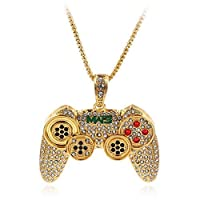 WeishenG 2019 New Hip Hop Iced Out Game Controller Joystick Pendants with Chain Hip Hop Necklace(Gold)