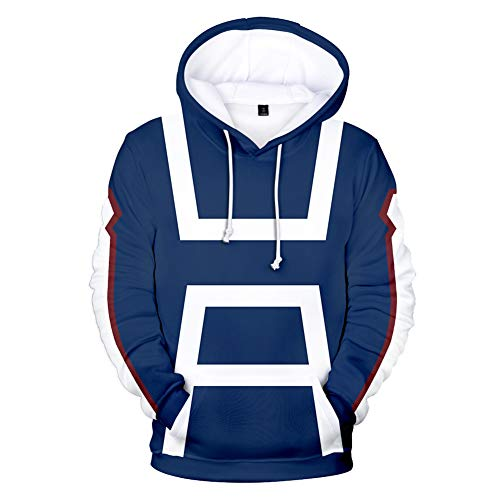Hero-kinder Hoodie (Film My Hero Academia 3D Druck Hoodie Sweatshirt Kapuzenpullover, Kinder Mode Cartoon Manga Serie Pullover Casual Jacket Top, XXL)