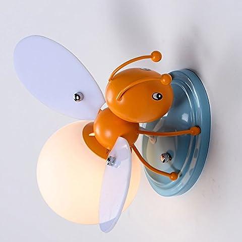 LXSEHN Garçon Fille Enfant Lampe Murale Pour Insectes LED Fer Créatif Protection Des Yeux Bee Firefly Chambre À Coucher Lumières Décoratives De Chevet