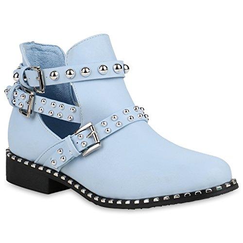 Damen Ankle Boots Nieten Stiefeletten Cut Outs Leder-Optik Schuhe 159110 Hellblau 38 Flandell