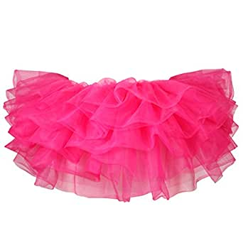 Sexy Neon Flo Rainbow Vivid Colour Tulle 8 tiers 10 inch Micro Mini Tutu Skirt Fancy Dress Hen Party Costume Great for Ballet Dance Dressup Club Rave Night UK 4-16 [ Hot Pink ]
