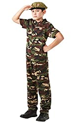 Rubie´s Army Soldier + Beret Kids Fancy Dress Military Camo Boys Girls Costume 9-10 Years