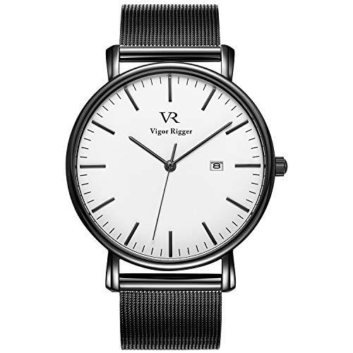 Vigor Rigger Herren Quarzuhr ultradünne Schwarz Armbanduhr für Damen und Herren Classic Minimalistisches Design mit Datum Kalender und Milanaise Mesh Band