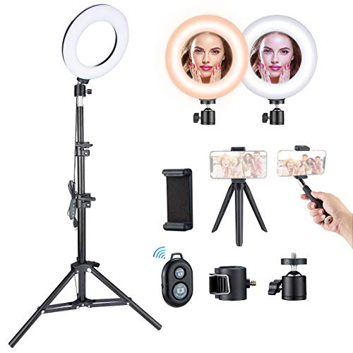 VicTsing Aro de Luz para Maquillaje, 5 Temperaturas de Color y 5 Modos de Brillo, Máximo 1200 lúmenes, Trípode Ajustable 43-110 cm, Youtube y Selfie Video, Anillo de Luz