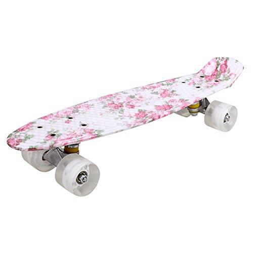 Mini Monopatín 22 Pulgadas con LED Luces Pro Skateboards Completo Estilo Crusier Retro para Niños Adolescentes, ABEC-7, Carga Máximo 80 KG, 54 x 14cm, para Principantes o Profesionales (EU STOCK)