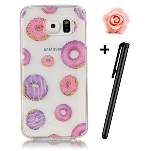 Preisvergleich Produktbild Samsung Galaxy S6 Hülle,Samsung Galaxy S6 Case,TOYYM TPU Hülle Schutzhülle Crystal Case Silikon Transparent Hülle Krapfen Muster Anti-Kratz Zurück Case Cover für Samsung Galaxy S6