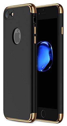 Funda iPhone 7, RANVOO 3 en 1 Anti-Scratch Anti-huella dactilar a prueba de choque Marco Electroplate con superficie antideslizante cubierta Excelente agarre el caso para el iPhone 7, [logo out]