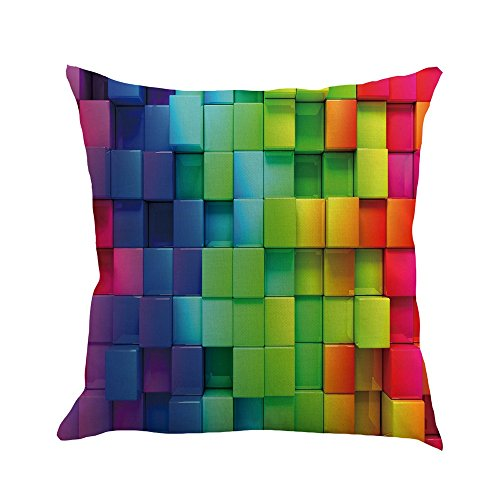 Harpily Bunter Regenbogen Dekorative Leinen Kissenbezug Pillowslip Throw Sofa Kissenbezug,45x45cm