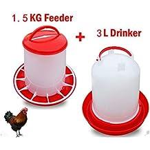 Bebedero para gallinas 3L y 1,5kg Feeder de pájaro aves de corral