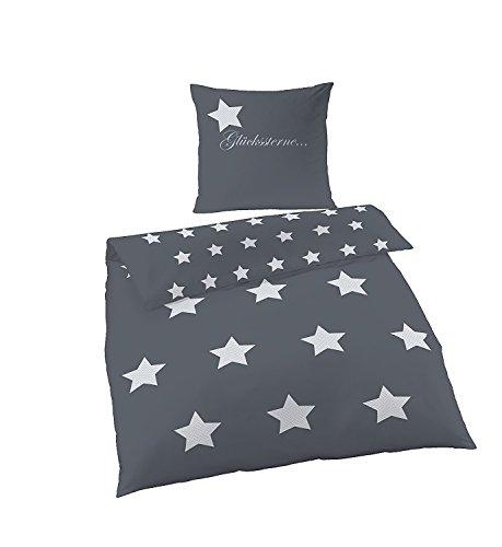 Soma Biber Bettwäsche 4 teilig Bettbezug 155 x 220 cm Kopfkissenbezug 80 x 80 cm grau anthrazit Sterne