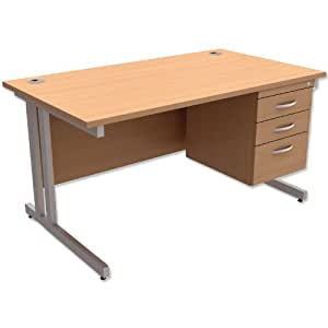 Trexus Contract Plus Cantilever Desk Rectangular 3-Drawer Pedestal Silver Legs W1400xD800xH725mm Beech