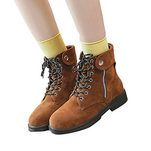 Geili Damen Boots Schnürstiefel Kurzschaft Stiefeletten mit Blockabsatz Frauen Wildleder Flach Stiefel Übergrößen Biker Boots Cowboystiefel Reiterstiefel Freizeitschuhe 36-39
