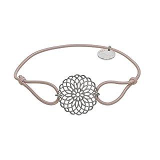 lua accessories Armband Damen - Elastikband - größenverstellbar - hochwertig versilberte Lebensblume - Sun silber (beige)