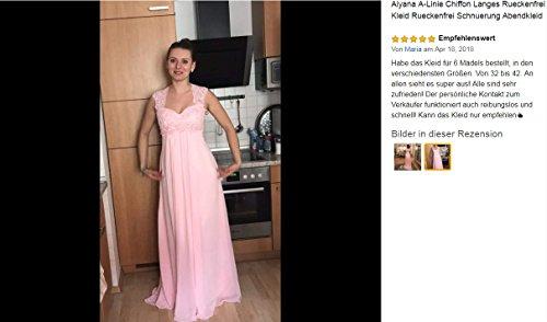 Aiyana A-Linie Chiffon Langes Rueckenfrei Kleid Rueckenfrei Schnuerung Abendkleid Spitze Brautkleid (32, Elfenbein) - 5