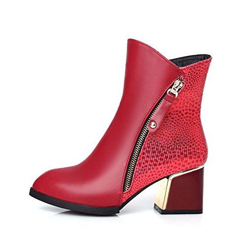 AllhqFashion Damen Weiches Material Spitz Zehe Niedrig-Spitze Hoher Absatz Stiefel, Rot, 43