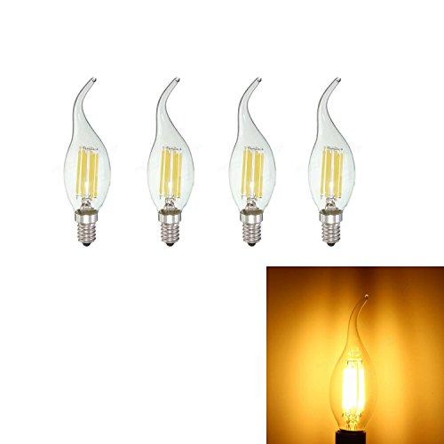 LJY E14dimmerabile 6Watt LED a filamento Lampadine Candelabro, 50W a incandescenza, Lampadario Fiamma punta, vetro trasparente, 220V-240AC, confezione da