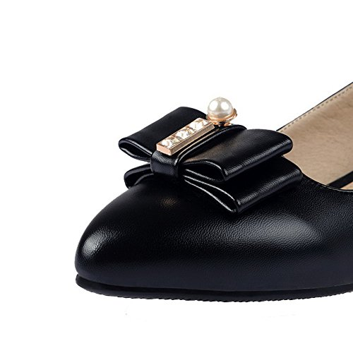AgooLar Femme Tire Pu Cuir Pointu à Talon Bas Chaussures Légeres Noir