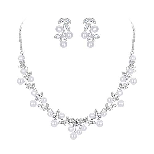 Ever Faith Kristall Simulierte Perle Hochzeit Blatt Rebe Bowknot Halskette Ohrringe Set Klar Silber-Ton - Halskette Braut Perlen