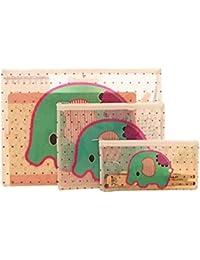 Lot de 3 pochettes documents trousse à crayons de tailles différentes motif éléphant
