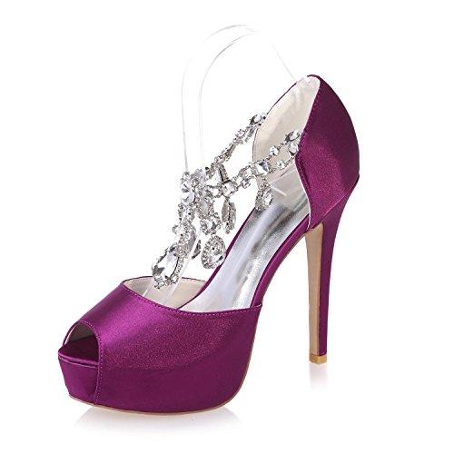 L@YC Scarpe Da Sposa Scintillanti Da Donna, Scarpe Con Tacco a Spillo / Notte Di Festa E 3128-36 Purple