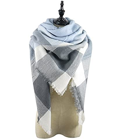 Azue Women Plaid Big Square Comfortable Scarf Long Shawl Thick Blanket Warm Knit Wrap Tartan Cape Cozy Poncho Light