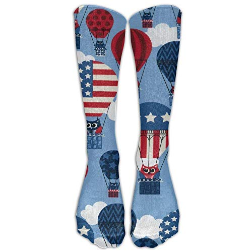 American Flag Starburst USA Patriotic Stars Stripes Athletic Tube Stockings Women's Men's Classics Knee High Socks Sport Long Sock One Size Patriotic Hot Air Balloon American Flag