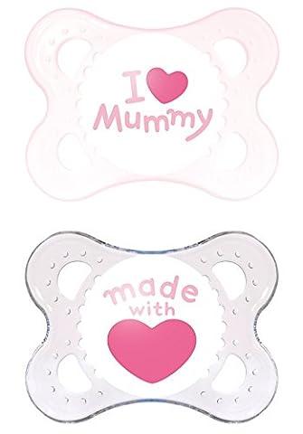 MAM 66735022 - Original Silikon I love mummy girl 0-6, Doppelpack