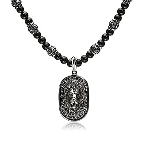 Daesar Stainless Steel Men's Lion Pendant Necklaces Tag Black Bead Chain Black Silver Necklaces