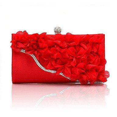 Frauen Abend Tasche Chiffon alle Jahreszeiten Hochzeit Event / Party Shopping Casual Formal Baguette Blume Spange LockBlack Silber Fuchsia Ruby Ruby