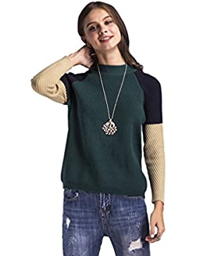 [Patrocinado]WanYang Mujeres Jerseys de Manga Larga Prendas de Punto Suéter Moda Suéter Largo Casual Pullover Señoras Otoño