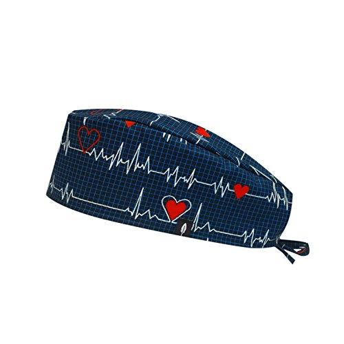 Robin Hat - Gorro de Quirófano Modelo: Electrocardiograma - Pelo Corto - 100% Algodón (autoclave) - Tamaño Ajustable.