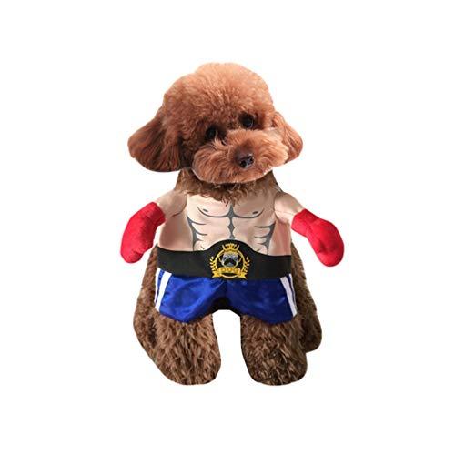 Jitong Haustier Cosplay Outfit - Halloween Katzenkostüm - Boxer Verkleidung für Hunde - Warm Hundemantel (Cartoon, Größe S)