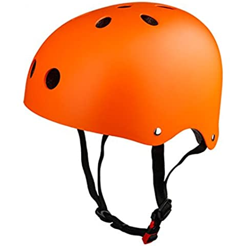 hamhsin–Tabla de monopatín (tamaño ajustable ABS casco para ciclismo rodillo patinaje deportes al aire libre, naranja