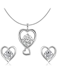 Shiyara Jewells 92.5 Sterling Silver Solitaire Touchable Heart Pendant Set Made With Swarovski Zirconia As Valentine...