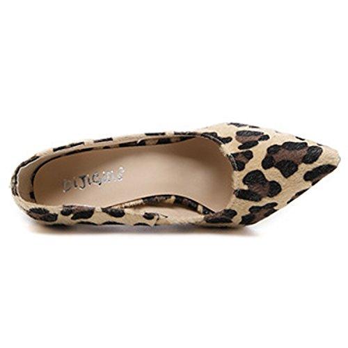 Oasap Women's Pointed Toe Slip-on High Heels Leopard Pumps yellow