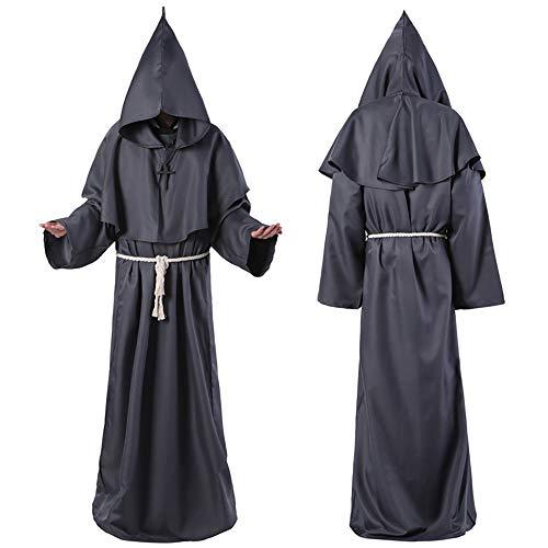 Robe Kostüm Priester Schwarze - FZTX-LPX Halloween Cosplay Kostüm Mittelalter Mönch Kostüm Mönch Robe Hexe Kostüm Priester Kostüm Christian Anzug,Schwarz,XL