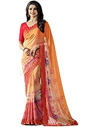 Vedant Vastram Women's Bollywood Designer Fashionable Georgette Printed Saree With Blouse Piece (Orange Colour...