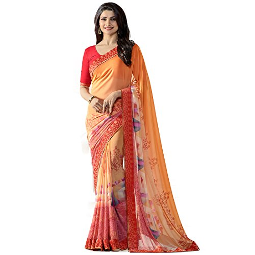 Sarees(Krishna Fab Women's Clothing Saree For Women Latest New Design Wear Sarees Fashion New Collection in Orange Color In Georgette Embroidered Bollywood Style Beautiful Saree With Printed Material Latest Saree With Designer Saree Cotton Silk Blouse Free Size Beautiful Bollywood Fashion Style Saree For Women Party Wear Offer Designer Sarees With Blouse Piece)  available at amazon for Rs.799