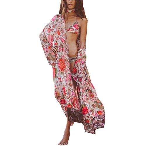 Kimono Manadlian Top Floreale Camicia Blanc Coprire Cardigan Camicetta Allentato Stampa Femmes Scialle 0RZqTTB