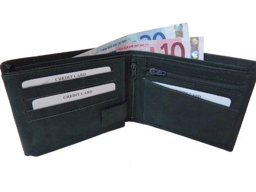 PESETA 215 Herren Leder Brieftasche, Kartenetui Querformat 12,5x10x2 Grün