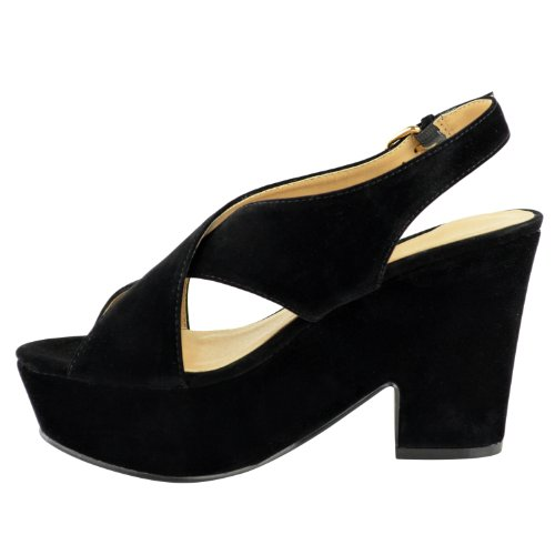 DONNE alto tacco medio plateau forma piatta Scarpe con zeppa sandali con punta aperta taglia Scamosciato Nero