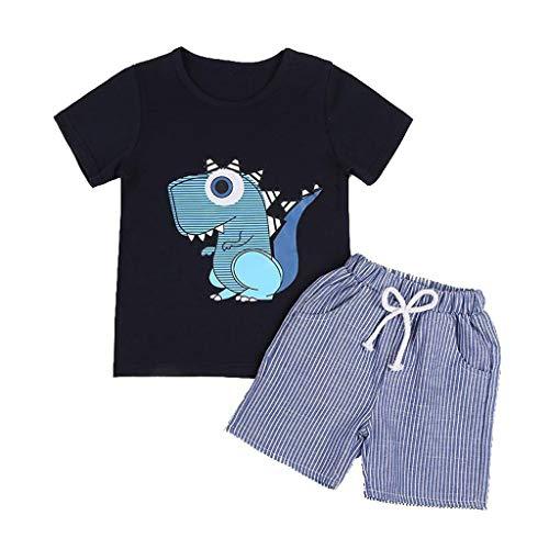 Boy Kleinkind Kostüm Biene - Cuteelf Baby Boy Anzug Kleinkind Baby Boy Cartoon T-Shirt + gestreifte Shorts Kleidung Anzug kleine Kinder Kurzarm kleines Monster Cartoon T-Shirt gestreifte Shorts zweiteilig
