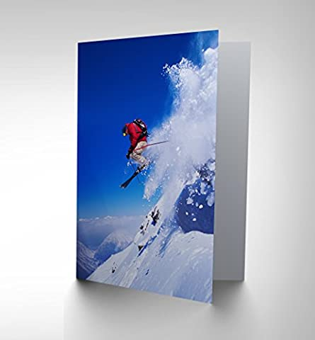 SKIER SKI JUMPING SNOW SPORT SKY PHOTO BIRTHDAY BLANK GREETINGS