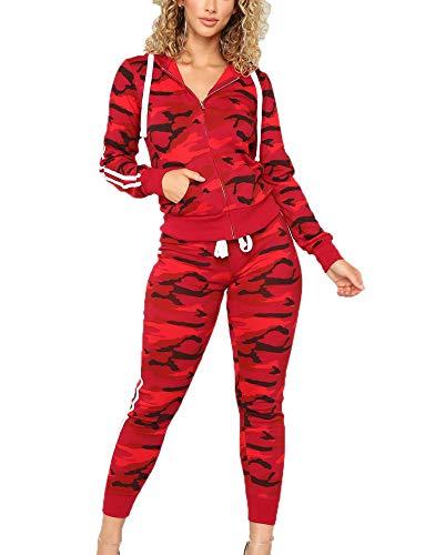 Keephen Damen Camouflage Jogging 2 Stück Anzug Set Sport Trainingsanzug
