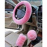 Lenkradbezug - Plüsch Fluffy Car Lenkradbezug, Universal Fit Lenkungsüberzug Winter Warm Lenkradschutz, Pink