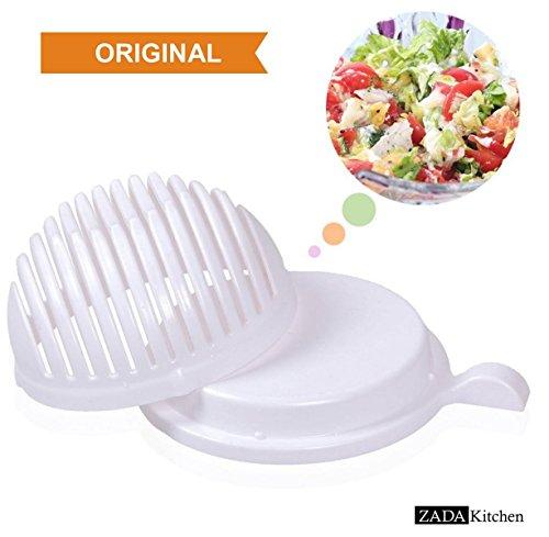ZADA l Salat Schneiden Gemüse Obst Schüssel 60 Sekunden Messer Schneidemesser Salatschneiderschale Salat-schneider Gemüseschneider Obstschneider Fertig in nur 60 Sekunden Salat Maker Magic Salad Maker (Schüssel-set Bpa-frei)