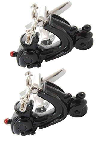 COLLAR AND CUFFS LONDON - HOCHWERTIGE Manschettenknöpfe mit GESCHENK BOX - Moped - Stilvolle Messing - Schwarze Farbe - Roller Motor Scooter Motorrad (Britische Vintage Motorräder)