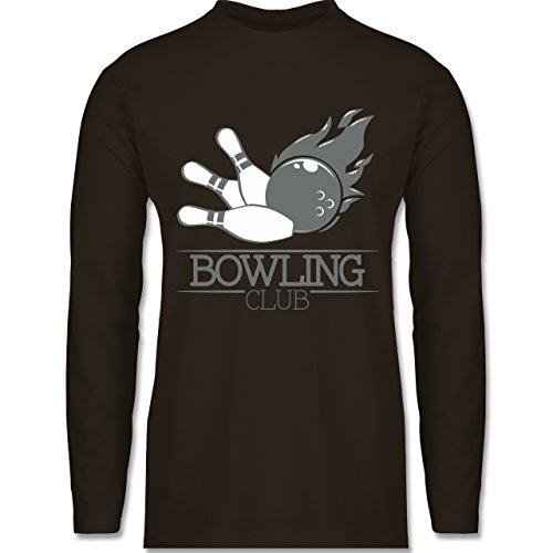 Shirtracer Bowling & Kegeln - Bowling Club Ball Flamme - Herren Langarmshirt Braun