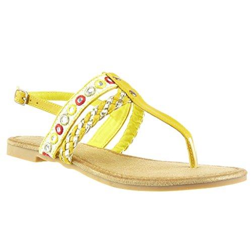 Angkorly - Damen Schuhe Sandalen Flip-Flops - Bestickt - Geflochten - Multi-Zaum Blockabsatz 1.5 cm - Gelb 117-5 T 39
