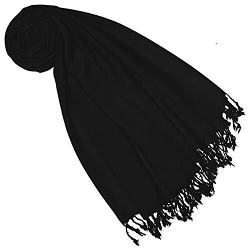 Lorenzo Cana Luxus Pashmina Schal Schaltuch 50% Kaschmir 50% Wolle vom Merino-Lamm Wolle Kaschmirschal Wollschal Damenschal Frauenschal schwarz black 7838677